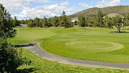 A tee box at Eagle Crest resort golf course